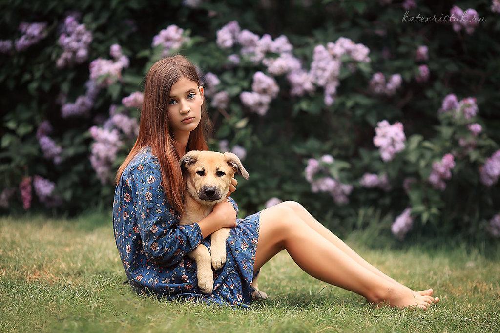 Фотосессия девочка и щенок